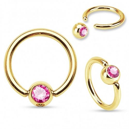 Gold Plated Ball Closure Ring with Pink Gem Ball